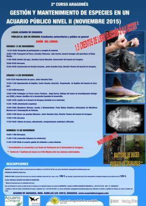 II CURSO ARAGONÉS DE GESTIÓN Y MANTENIMIENTO DE ESPECIES EN UN ACUARIO PÚBLICO NIVEL II
