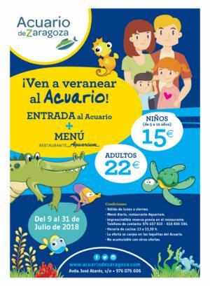 Acuario de Zaragoza: nueva entrada combinada adulto y niño (5 a 12 años) con Almuerzo de lunes a viernes