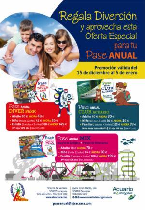 Pases Individuales y Conjuntos del Acuario y el Parque de Atracciones de Zaragoza Temporada 2018