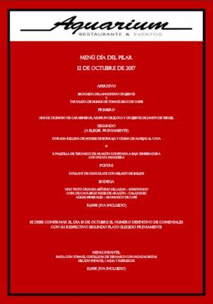 Menú día del Pilar 12 de octubre de 2017