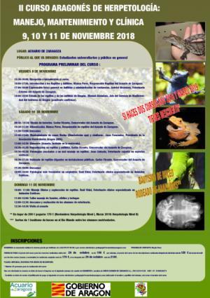 II Curso Aragonés de Herpetología: Manejo, Mantenimiento y Clínica Nivel I