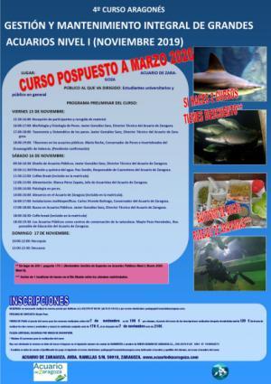 IV CURSO ARAGONÉS DE GESTIÓN INTEGRAL DE GRANDES ACUARIOS NIVEL I (15-17 NOVIEMBRE) POSPUESTO A MARZO 2020