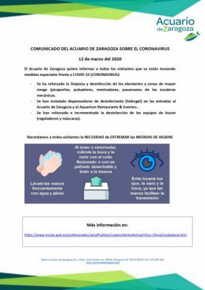 COMUNICADO DEL ACUARIO DE ZARAGOZA SOBRE EL COVID-19 (CORONAVIRUS)